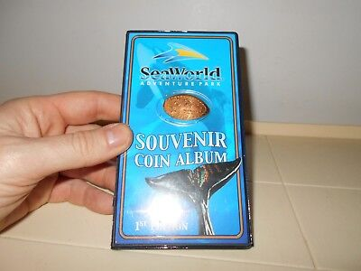 Sea World Souvenir Pressed Penny Coin Book W/ 17 Pressed Pennies