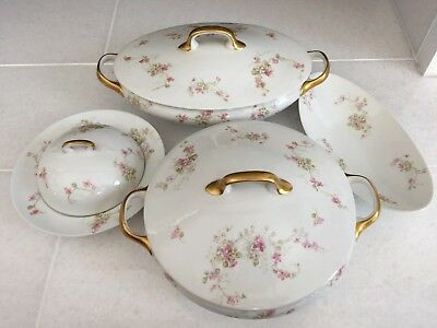 7 Piece - Old Abbey Limoges France, Pink Flowers - Covered Dishes / Pickle Dish