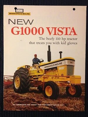 MM Minneapolis Moline G1000 VISTA tractor brochure dealers sales advertising