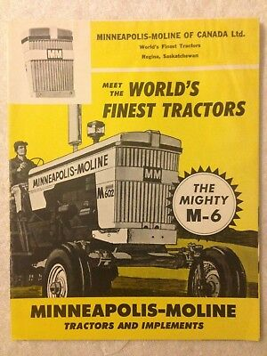 MM Minneapolis Moline M6 tractor brochure with U-302 Jet Star 3 and G Series
