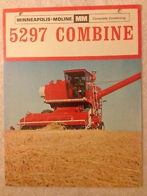 MM Minneapolis Moline 5297 COMBINE brochure harvester dealer sales advertising
