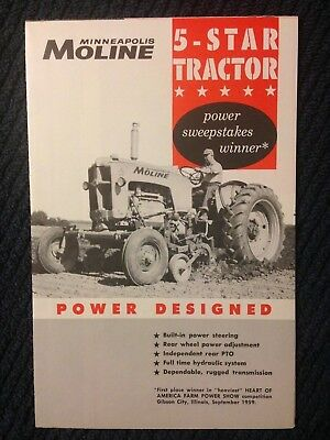 Vintage MM Minneapolis Moline 5 Star tractor brochure America farm power show