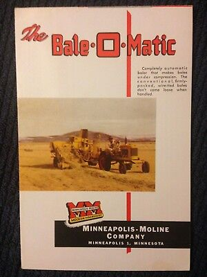 Vintage MM Minneapolis Moline Bale O Matic brochure antique hay bailer