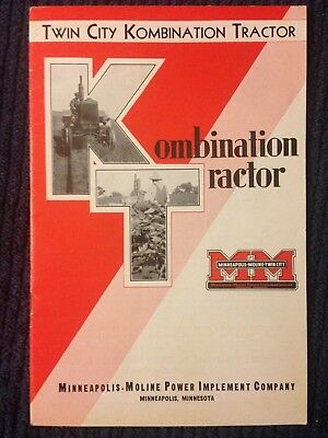 Vintage 1930s Twin City KT kombination tractor brochure Minneapolis Moline sales