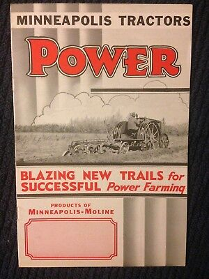 Vintage 1930s Minneapolis Moline 17-30 and 27-42 tractor brochure antique power