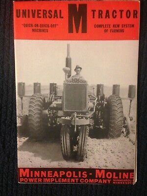 Vintage MM Minneapolis Moline UNIVERSAL M TRACTOR brochure sales advertisng
