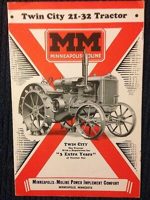 Vintage Twin City 21-32 MM Minneapolis Moline tractor brochure sales advertising