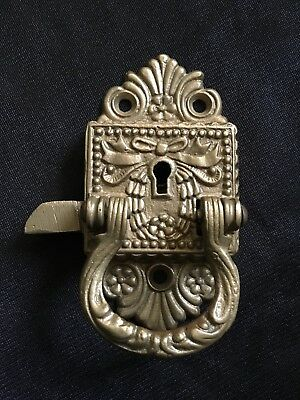 Antique Ice Box Door Latch  Cast Bronze Ornate Victorian Lock. Pat. June 29-97