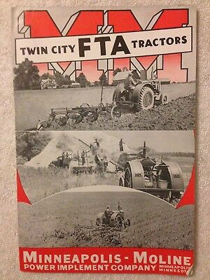 Vintage 1938 Twin City FTA tractors MM Minneapolis Moline sales brochure