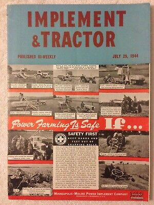 1944 Implement & Tractor magazine MM Minneapolis Moline tractor on cover