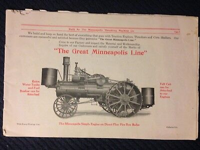 Vintage MM Minneapolis Moline Threshing Machine Co brochure steam engine tractor
