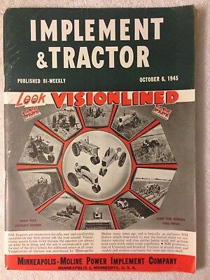 1945 Implement & Tractor magazine Minneapolis Moline MM cover page advertising