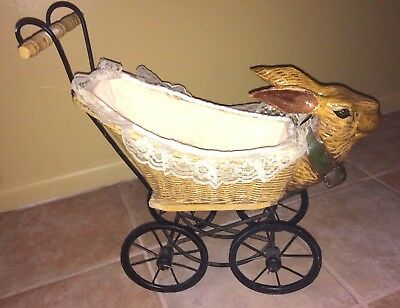 Victorian  Style Wicker  Doll Baby Carriage Buggy With Rabbit Head
