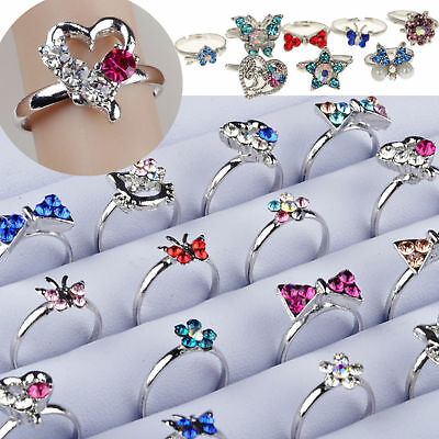 30pc Wholesale Mixed Adjustable Crystal Children Kids Rings Silver Tail Ring Lot