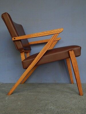 vtg mid century modern chair z oak retro eames