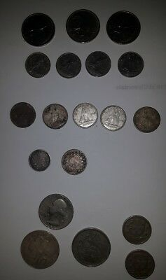Lot of 17 Vintage Silver Coins  - MIXED COUNTRIES