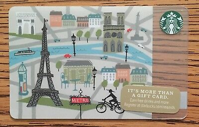 Starbucks 2014 Christmas Biking In Paris Card RARE