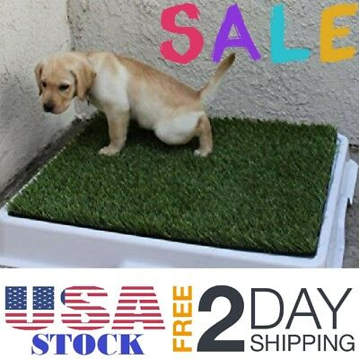 Dog Puppy Potty Trainer Grass Pee Pads Indoor Restroom for Pets Medium Cats NEW