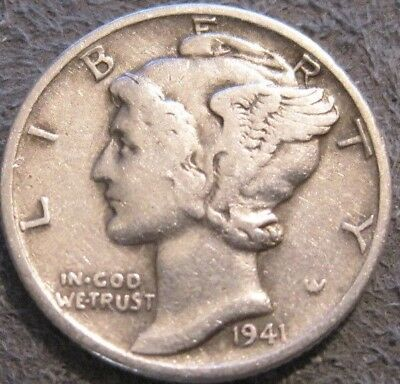 As Shown -1941 P 10C Mercury Dime In Circulated Condition / 90% Silver // Mc 517