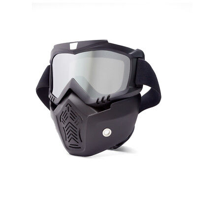 Open Helmet Bikers Face Mask / Goggles - Sliver Tinted Lens Road Trail Dirt Bike