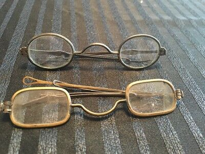 Antique Early 1800s Eyeglasses Spectacles w Adjustable Sliding Arms Bows Civil W