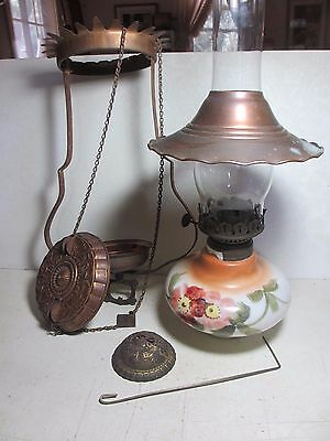 Antique Victorian Hanging Oil Lamp for Parts / Repair Pulley Chimney Smoke Bell