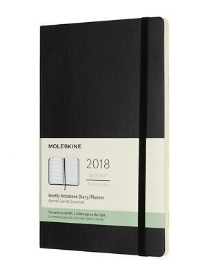 Moleskine - 2018 Soft Cover Diary - Weekly Notebook - Large - Black