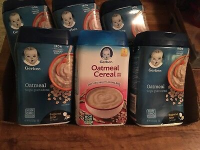 New Unopened GERBER Baby Oatmeal Single Grain Cereal, 6 Ct