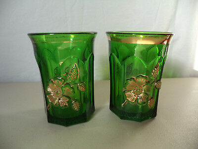 2 Antique Victorian Early American Pressed Pattern Glass Green Gold Gilt Tumbler