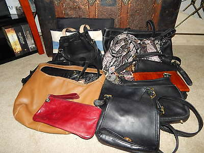 Lot of 15 Assorted Various Multi-Color Handbags Purses Fashion Leather Bags