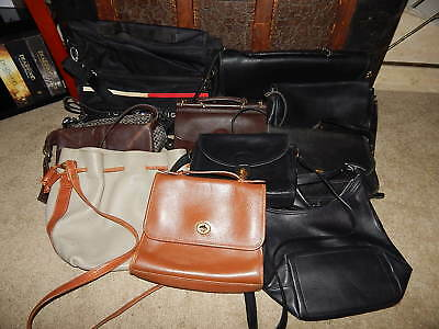 Lot of 11 Assorted Various Multi-Color Handbags Purses Fashion Leather Bags