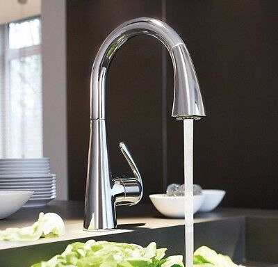 GROHE 32294001 Zedra Kitchen Mixer Tap/ Faucet with Pull-Out Spray, Chrome, NEW