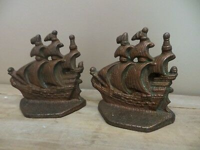 Vintage Cast Iron Ship Bookends With Copper Finish Ship Nautical