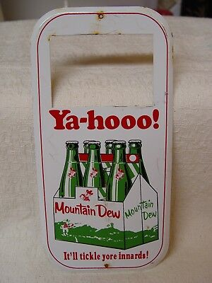 Mountain Dew Soda Tickle Yore Innards! Metal Advertising Price Tag Holder Sign