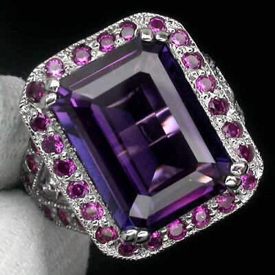 Amazing Aaa Blue Purple Ametrine Main Stone 17.10Ct.ruby 925 Silver Ring Sz 6.25