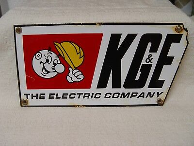 Porcelain Vintage KG&E Electric Co. Reddy Kilowatt Diecut Advertising Sign