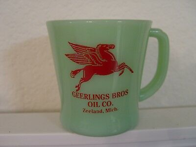 Geerlings Bros. Mobil Oil Co Gas Station Zeeland MI Fire-King Jadite Coffee Mug