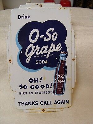 O-So-Grape Soda Thanks Call Again Embossed Metal Advertising Door Push Sign