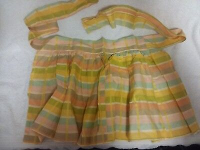 Small Childs Vintage Cotton Half Apron Orange Green Colors GIRLS ANTIQUE CLOTHES