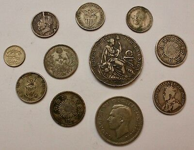 Silver Foreign Coin Lot: Mixed Lot of Old Silver Coins