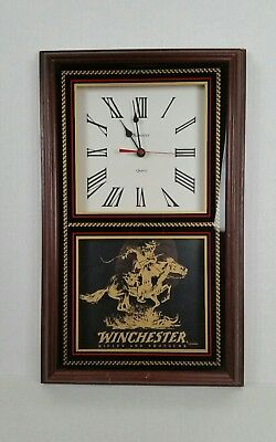 "Winchester Shotguns & Rifles Hanover Quartz Wood and Glass 18"" Wall Clock May'97"