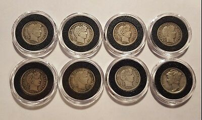 Lot of 7 Barber Dimes and 1 Mercury Dime F/VF condition