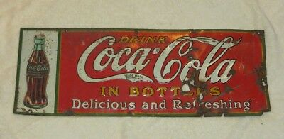 Unique Size 1930's Antique Vintage Coca Cola Metal Sign-Coke Collectible