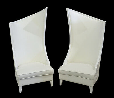 Vintage Style White Pair of Hollywood Regency Fireside Tall Chairs,71.25''H