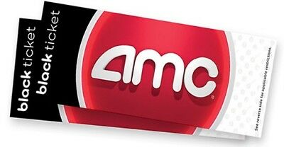 2 TICKET PACK - AMC Black Movie Tickets. NO EXPIRATION. Free shipping.