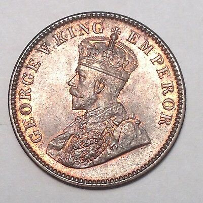 1933 1/4 ANNA BRITISH INDIA - A GEM with RED!!  MUST TAKE A LOOK!!