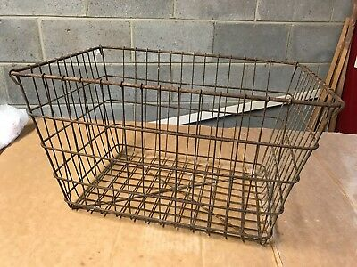 Large Vintage metal wire basket storage industrial steampunk decor