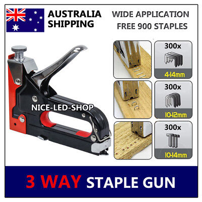 HEAVY DUTY STAPLE GUN KIT TACKER UPHOLSTERY STAPLER Nail Fastener Tool for Wood