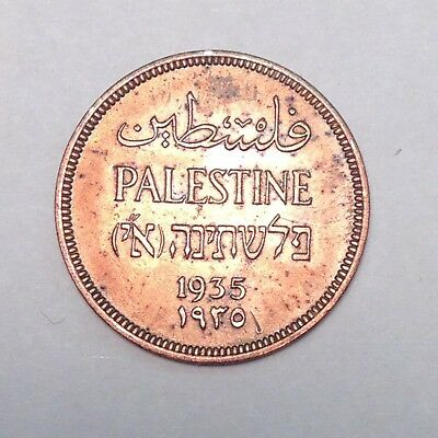 1935 Palestine One Mil - Bold Details, Much Red!!! Must Take A Look!!