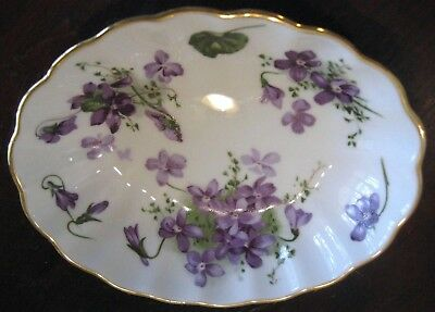 Hammersley Bone China Victorian Violets Trinket Bowl/Dish Oval EC-SIGNED